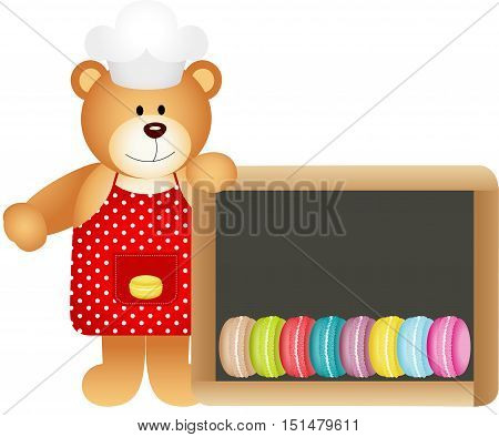 Cook teddy bear with macaroons slate board