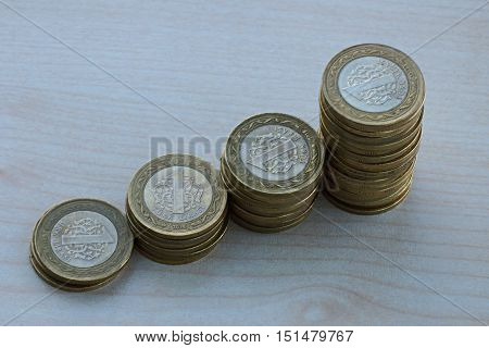 Coins arranged and piled on a table