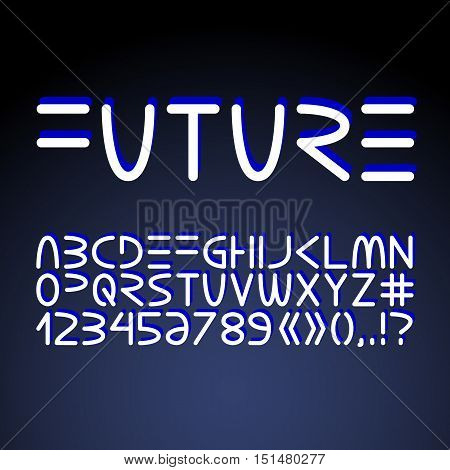 Vector futuristic minimalistic alphabet. Letters and numerals isolated on dark background