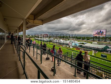 May 6th 2015: Louisville United States. The Balcony at Dawn at the Downs where people can watch horses doing practice laps