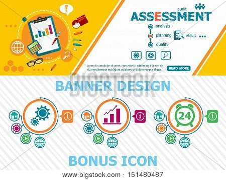 Assessment Concepts And Abstract Cover Header Background For Website Design.