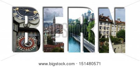 Assorted images of Bern Switzerland in collage over white background