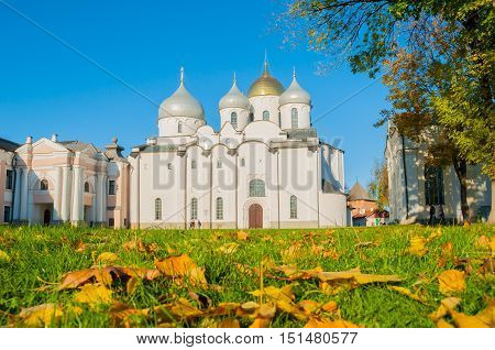 St Sophia Russian Orthodox cathedral in Veliky Novgorod Russia, landmark with fallen autumn leaves on the foreground