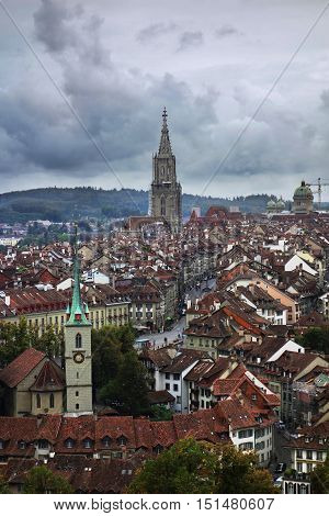View of rooftops and churches in Bern Switzerland
