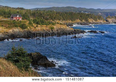 Rugged shoreline along the coast of Newfoundland, Canada.