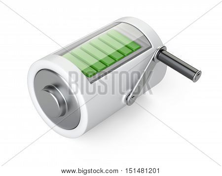 Concept of effective energy. Battery with the handle for rotation and charge. 3d illustration