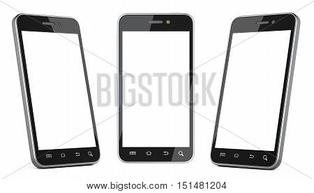 Black smartphone with blank screen left right and front view. Isolated on white background 3d image.