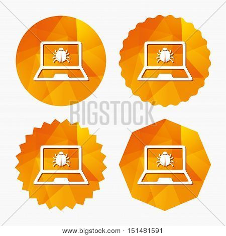 Laptop virus sign icon. Notebook software bug symbol. Triangular low poly buttons with flat icon. Vector