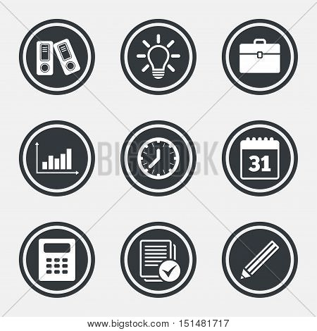 Office, documents and business icons. Accounting, calculator and case signs. Ideas, calendar and statistics symbols. Circle flat buttons with icons and border. Vector