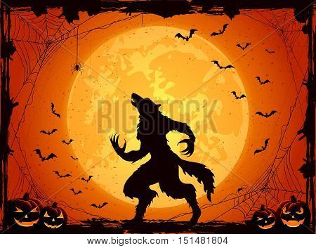 Orange Halloween background with Moon on sky, pumpkins and werewolf, grunge decoration with cobweb, spiders and flying bats, illustration.