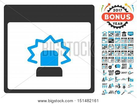 Alert Calendar Page pictograph with bonus calendar and time management design elements. Vector illustration style is flat iconic symbols, blue and gray colors, white background.