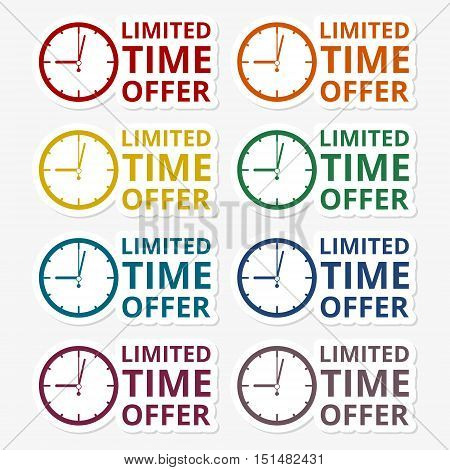 Limited time offer sticker set on gray background