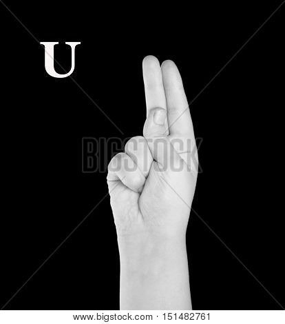 The Letter U. Finger Spelling the Alphabet in American Sign Language (ASL).