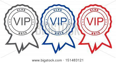 Three vector round with printing ribbons with the inscription VIP