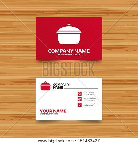 Business card template. Cooking pan sign icon. Boil or stew food symbol. Phone, globe and pointer icons. Visiting card design. Vector