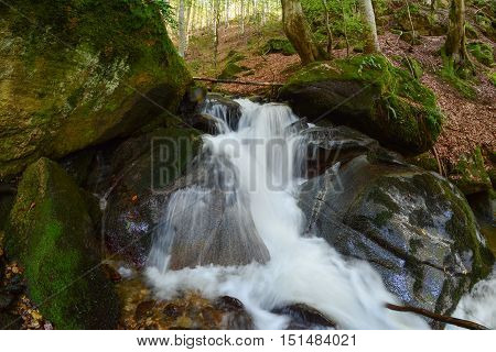 Waterfall on mountain creek running through old beech forest in early autumn