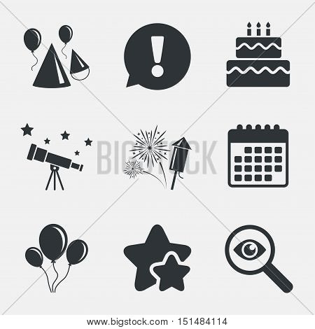 Birthday party icons. Cake, balloon, hat and muffin signs. Fireworks with rocket symbol. Double decker with candle. Attention, investigate and stars icons. Telescope and calendar signs. Vector