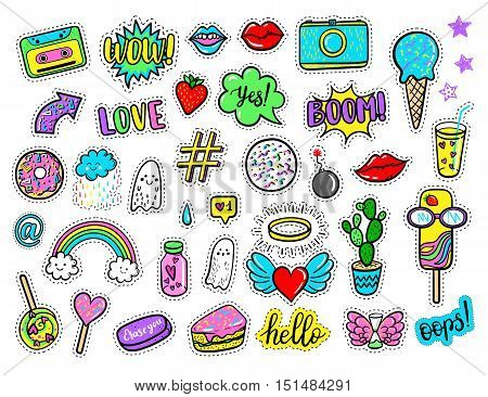 Vector hand drawn fashion patches: rainbow ghost cloud doughnut cake camera lip heart star arrow speech bubble. Modern set of pop art stickers patches pins badges in 80s-90s cartoon style