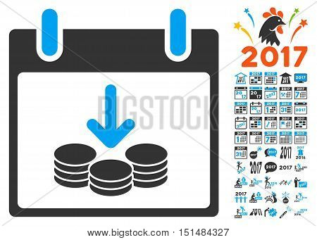 Coins Income Calendar Day icon with bonus calendar and time management design elements. Vector illustration style is flat iconic symbols, blue and gray colors, white background.