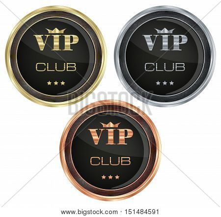 Vector set of medals with the inscription of gold silver bronze VIP crown and stars on a black glossy background