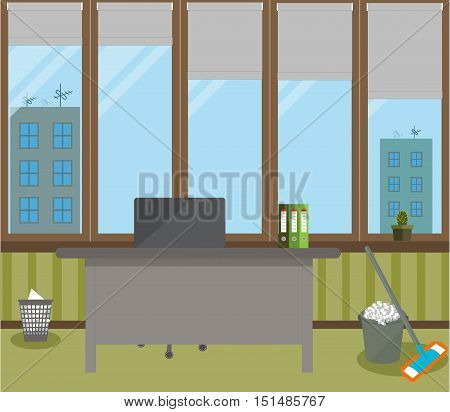 Cleaning in the office on a green background. Vector illustration. Table, chair, bin, folders, cactus in a green pot, large Windows, grey protective blinds, a bucket of foam and MOP