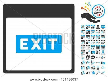 Exit Caption Calendar Page icon with bonus calendar and time management icon set. Vector illustration style is flat iconic symbols, blue and gray colors, white background.