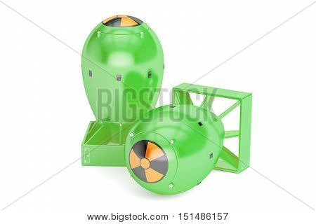 Nuclear atomic bombs 3D rendering isolated on white background