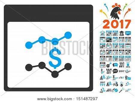 Financial Charts Calendar Page icon with bonus calendar and time management graphic icons. Vector illustration style is flat iconic symbols, blue and gray colors, white background.