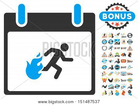 Fire Evacuation Man Calendar Day icon with bonus calendar and time management design elements. Vector illustration style is flat iconic symbols, blue and gray colors, white background.