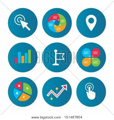 Business pie chart. Growth curve. Presentation buttons. Mouse cursor icon. Hand or Flag pointer symbols. Map location marker sign. Data analysis. Vector