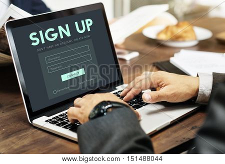 Sign Up Form Button Graphic Concept