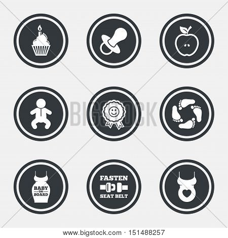 Pregnancy, maternity and baby care icons. Apple, award and pacifier signs. Footprint, birthday cake and newborn symbols. Circle flat buttons with icons and border. Vector