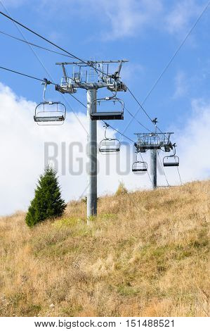 Empty cableway in Romanian Carpathians during summertime