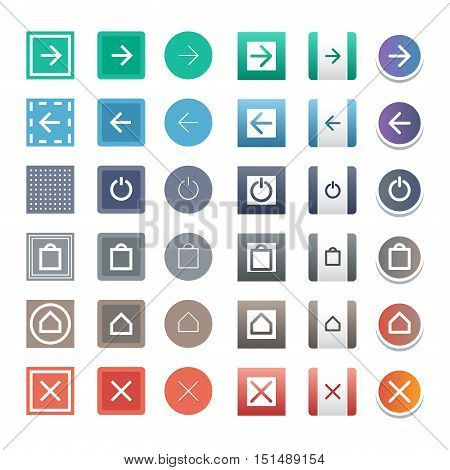 Web elements site buttons and vector shop button set. Design sign buy element shop button and label ui ux buttons. Business banner symbol shop buttons graphic. Square and circle web button.