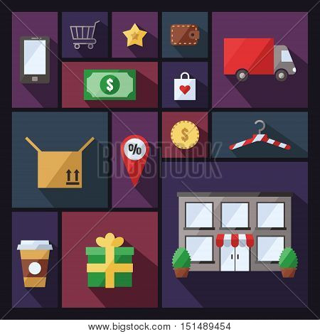 Shopping vector background with sectors. Modern flat design.