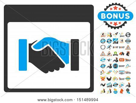 Handshake Calendar Page pictograph with bonus calendar and time management pictogram set. Vector illustration style is flat iconic symbols, blue and gray colors, white background.