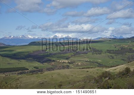 Rural and mountainous landscape around the small city of Coyhaique in the rural Aysen Region of Southern Chile. The town is the gateway to the Carratera Austral.