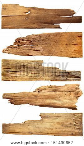 old wooden boards isolated on a white background.