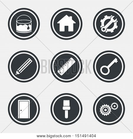 Repair, construction icons. Service, key and door signs. Painting, brush and pencil symbols. Circle flat buttons with icons and border. Vector