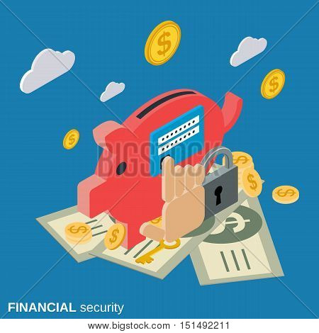 Financial security, online banking protection flat isometric vector concept illustration
