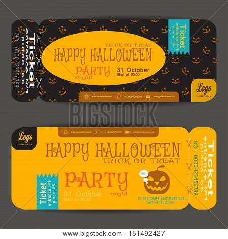 Ticket to a Halloween party on the dark background with pattern vector illustration.