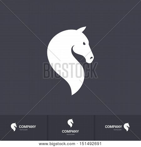 Simple White Horse Head for Logo Template on Dark Background