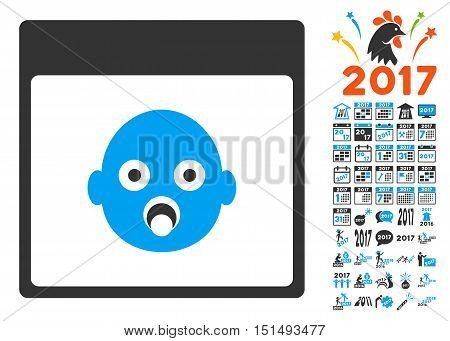 Newborn Head Calendar Page icon with bonus calendar and time management pictures. Vector illustration style is flat iconic symbols, blue and gray colors, white background.