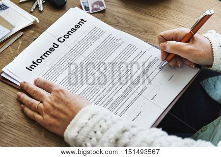 Informed Consent Surgery Agreement Consulting Concept