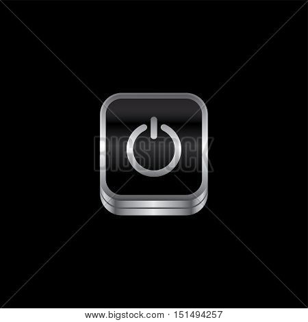 power switch metal plate theme icon button vector art illustration