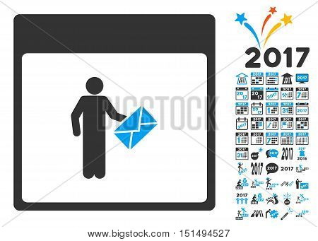 Postman Calendar Page pictograph with bonus calendar and time management images. Vector illustration style is flat iconic symbols, blue and gray colors, white background.