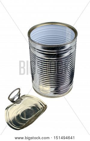 Empty open tin can isolated on white background with clipping path