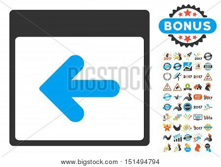 Previous Calendar Day pictograph with bonus calendar and time management pictograph collection. Vector illustration style is flat iconic symbols, blue and gray colors, white background.