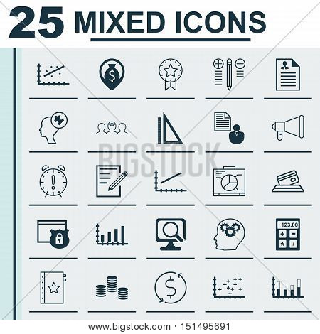 Set Of 25 Universal Icons On Line Up, Dynamics, Human Mind And More Topics. Vector Icon Set Includin
