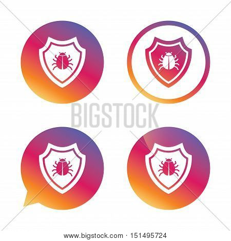 Shield sign icon. Virus protection symbol. Bug symbol. Gradient buttons with flat icon. Speech bubble sign. Vector